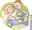 Vector Clip Art image  of a Husband serving wife breakfast in bed