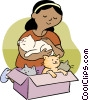 Vector Clipart graphic  of a woman with cats