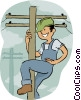 Worker on hydro pole Vector Clipart picture