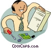 Vector Clipart graphic  of a computer repair technician