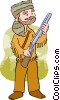 Vector Clipart picture  of a Man in a coon skin hat holding