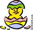 Vector Clipart illustration  of a Easter Chicks with Eggs