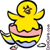 Vector Clip Art picture  of a Easter egg hatching