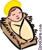 Vector Clip Art graphic  of a baby Jesus