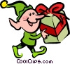 Vector Clip Art image  of a Santa's Elves and Helpers