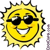 Vector Clipart illustration  of a The sun wearing sunglasses
