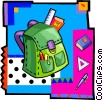 Vector Clip Art graphic  of a backpack with school supplies