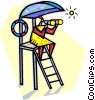 Vector Clip Art graphic  of a Lifeguard looking through