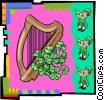 Vector Clipart graphic  of a Leprechaun with harp and