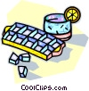 Vector Clipart graphic  of a ice cube tray with a glass