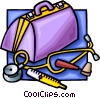 doctors bag with medical supplies Vector Clip Art graphic