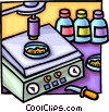 Vector Clipart illustration  of a electric scale with microscope