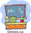 teachers desk Vector Clipart picture