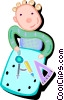 Vector Clipart image  of a student at school