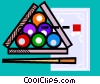 Vector Clip Art graphic  of a Billiard balls and cue
