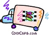 Vector Clip Art graphic  of a Truck delivering fish