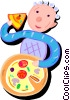 boy eating pizza Vector Clip Art picture