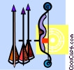 bow, arrow and target Vector Clip Art image