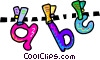 ABC clothes line Vector Clipart picture