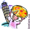 Vector Clip Art graphic  of a person with a pizza in Italy