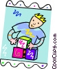 Vector Clipart picture  of a boy playing with blocks