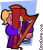 Vector Clipart graphic  of a Musician playing harp