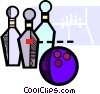 Vector Clipart illustration  of a bowling ball and pins