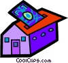 Vector Clipart graphic  of a Putting money into home