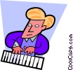 Vector Clipart graphic  of a Musician playing keyboard