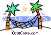 Vector Clip Art graphic  of a palm trees with a hammock