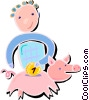 Vector Clipart picture  of a saving money in a piggy bank