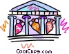 Vector Clip Art image  of an acropolis with vases