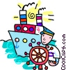 captain with his ship Vector Clip Art image