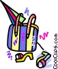 Vector Clipart image  of a beach bag with umbrella and