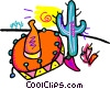 sombrero, cactus and hot pepper Vector Clipart picture