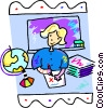 teacher marking papers Vector Clipart picture