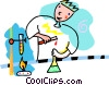 Vector Clipart graphic  of a man with test tubes