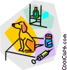 Vector Clipart graphic  of a dog at the vet
