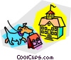 dog with book bag going to school Vector Clipart illustration