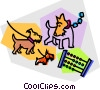 Vector Clip Art image  of a dog with an abacus