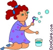 Vector Clip Art image  of a little girl blowing bubbles