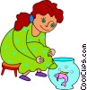 Vector Clipart illustration  of a girl watching a fish in a fish