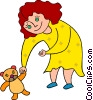 Vector Clip Art graphic  of a girl with a stuffed animal