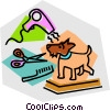 Vector Clipart graphic  of a dog grooming