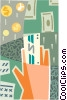 Hand with money Vector Clip Art graphic