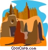 desert buildings Vector Clipart graphic