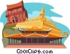 Vector Clip Art picture  of a VIETNAM & LAOS - Temples
