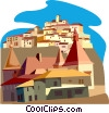France and Italian villages in contrast Vector Clipart illustration