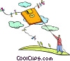 man flying a floppy disk kite Vector Clipart picture