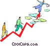 Vector Clip Art image  of a man walking to the top of a